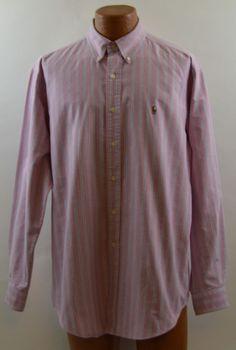 Ralph Lauren Classic Fit Pink Blue Striped Long Sleeve Shirt Men's Large Used #RalphLauren #ButtonFront