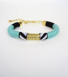Bohemian Thread Wrap Friendship Bracelet in teal by CoralandStone