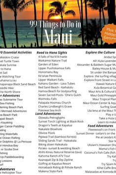 Check out 99 things to do in Maui during your next visit List includes top 10 essential bucket list activities along with plenty of land water air adventures too Explore. Oahu, Hawaii Maui, Visit Hawaii, Wailea Maui, Kaanapali Beach Hotel, Maui Resorts, Lahaina Maui, Maui Honeymoon, Bucket List Travel