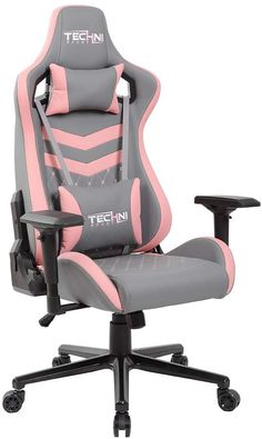 Buy TECHNI SPORT Gaming Chair Collection – Office Chair – Gaming Computer Chair – Recliner Chair – Back Support – Ergonomic & Adjustable – Lumbar Support Leather Gaming Chair Grey & Pink) online – Aristalook - Gaming Room İdeas Pc Gaming Chair, Gamer Chair, Gaming Room Setup, Gaming Computer, Volleyball Workouts, Volleyball Quotes, Volleyball Gifts, Bedroom Setup, Bedroom Desk
