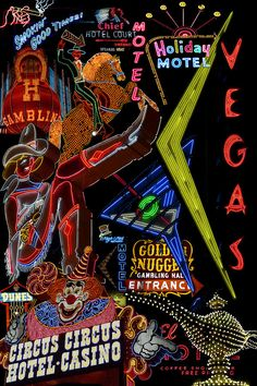 Las Vegas Neon Canvas Print by Andrew Fare. All canvas prints are professionally printed, assembled, and shipped within 3 - 4 business days and delivered ready-to-hang on your wall. Vegas Tattoo, Fine Art Prints, Canvas Prints, Collage, Arte Horror, Las Vegas Nevada, Casino Theme, Vintage Travel Posters, Vintage Signs