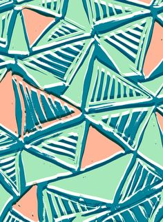 Painted and digital striped triangles pattern - Sarah Bagshaw. Aqua green peach