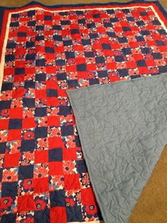 Red, White & Blue 9 patch quilt