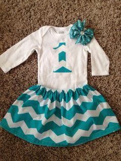 Girls 1st Birthday outfit - turquoise chevron on Etsy, $29.99