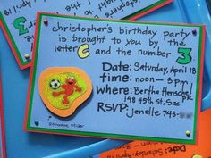 Sesame Street themed birthday invitation idea