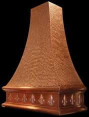 copper range hood with fleur de lis hammered copper hood pebbled finish pictured here