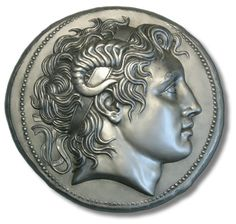 Alexander the Great on a silver tetradrachm of Lysimachos, King of Thrace, circa. Alexander the Great on a silver tetradrachm of Lysimachos, King of Thrace, circa B. Ancient Greek Art, Ancient History, Ancient Greece, Alexander The Great, Objets Antiques, Alexandre Le Grand, Coin Design, Coin Art, Gold And Silver Coins