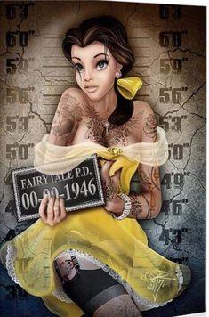 Disney Pin Up, Goth Disney, Punk Disney Princesses, Disney Princess Drawings, Disney Girls, Disney Drawings, Disney Art, Drawing Disney, Disney Princess With Tattoos