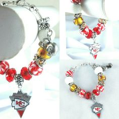Who is your favorite NFL team? Kansas City Chiefs Charm Bracelet on Sale Now!  Check out this item in my Etsy shop https://www.etsy.com/listing/263238381/nfl-kansas-city-chiefs-lampwork-glass