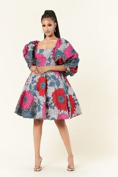 The Rasha dress will give a flirty, feminine edge, while the cinched waist creates a perfect silhouette. Finished with  midi balloon sleeves, this is the ideal dress for that season wardrobe transition. Best African Dresses, African Fashion Dresses, Ankara Fashion, African Print Clothing, African Print Fashion, African Prints, Cute Dresses, Short Dresses, Unique Ankara Styles