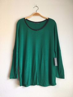 VELVET By Graham & Spencer Golda Round Neck Loose Pullover Top Green M $99 #VelvetbyGrahamSpencer #Tee #Casual