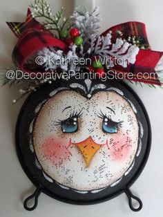 Penguin Kitchen Strainer ePattern - Kathleen Whiton - PDF DOWNLOAD #paintedstrainer #paintingpattern