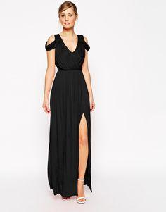 Image 1 ofASOS Cold Shoulder Wrap Maxi Dress