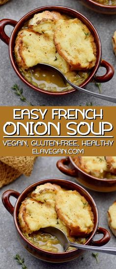 This easy vegan French onion soup recipe is hearty, comforting, and very tasty. Caramelized onions, red wine, and fresh thyme add lots of flavors. The soup is topped with the most delicious plant-based cheese baguette! #vegan #frenchonionsoup #vegansoup #elasrecipes | elavegan.com