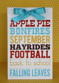 Free September printable ... to frame, use on gift packet, glue onto a card, use as a chocolate wrapper ...