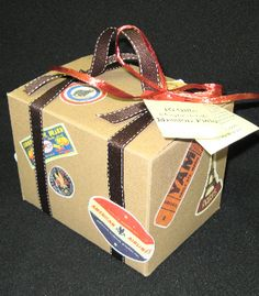 This darling vintage suite case holds some travel candy and ten gift cards taken from President Hinckley's talk about what a missionary should bring home.