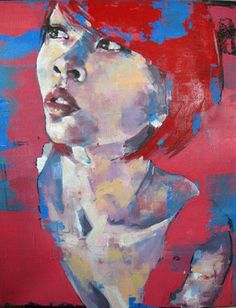 "Saatchi Art Artist thomas donaldson; Painting, ""28-10-13 head study with red SOLD"" #art"