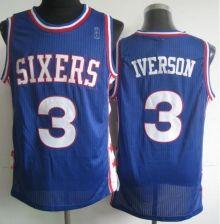 3b2095e8ee7 Philadelphia 76ers 3 Allen Iverson Blue Revolution 30 NBA Jerseys Wholesale  Cheap