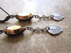 Silver Leaf Assemblage Earrings / Rustic Woodland by hollyglimmer
