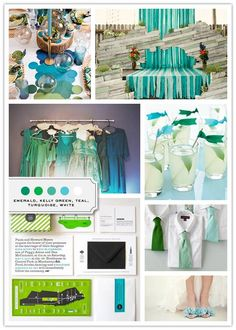 Color Palette Credits: Tablescape (Edited), via Say Yes to Hoben via  Altar, Kyle Hale via Ruffled Bridemaids' Dresses, Katherine O'Brien Photography via Ruffled Ribbon Flag Drink Sticks, Martha Stewart Weddings Invitation Suite (Edited), the Indigo Bunting Ties, Johnny Miller via (stylist) Kristi Blunt Bride's Shoes, Sarah Yates via Green Wedding …