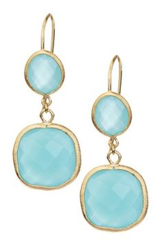 18K Gold Clad Chalcedony Crystal Bold Double Dangle Earrings