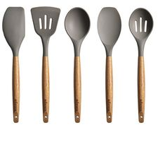 Miusco 5 Piece Silicone Cooking Utensil Set with Natural Acacia Hard Wood Handle Kitchen & Dining. The Miusco silicone cooking utensils set is made in stylish design since it's natural wood, each handle has its own pattern. Silicone Kitchen Utensils, Cooking Utensils Set, Kitchen Utensil Set, Cooking Spoon, Silicone Bakeware, Serving Utensils, What Is Acacia, Kitchen Collection, Cookware Set