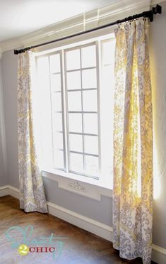 DIY Dining Room Window Panels Sam-why couldn't we make really simple CUTE fabric ones to resale? No Sew Curtains, How To Make Curtains, Panel Curtains, Curtain Panels, Damask Curtains, Long Curtains, Hanging Curtains, Dining Room Curtains, Dining Room Windows