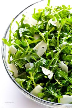 This 5-Ingredient Arugula Salad with Parmesan, Lemon and Olive Oil is so fresh and flavorful, and it can be made in minutes!