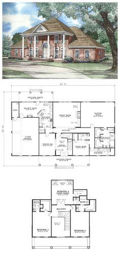 Colonial Plantation Southern House Plan 62020