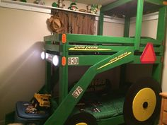 John deere tractor bunk bed with working lights! Happy 3rd Birthday Ronnie!!!!