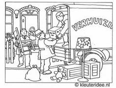 Kleurplaat verhuizen 1, kleuteridee.nl , moving coloring .