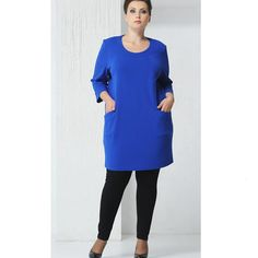 Women's Tunic Dress Plus Size Fashion Casual O-neck 3/4 Sleeve Large Size Clothing Blue 6XL 7XL 5XL 4XL Women 2016 *** Click image to review more details.