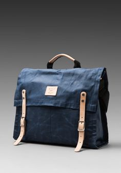 WILL LEATHER GOODS Wax Coated Canvas Messenger in Blue - Bags