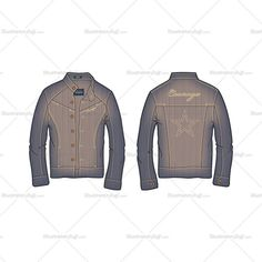 This vector template has a Cross-Hatched Vector Denim Fabric Texture and added with some basic Trims & Labels. Metal Buttons and Rivets, Bar Tacks on front