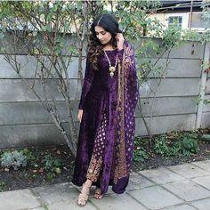 Bollywood Designer Indian pakistani long velvet kameez brocade pant shawl size L #Handmade #SalwarKameez