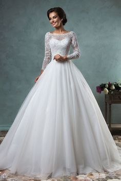 Ball Gown Wedding Dresses with Sleeves | Ball Gown Scoop Neck Long Sleeves Backless Lace Wedding Dress ...