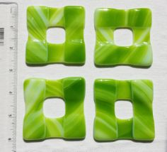"""Fused Glass Napkin Rings """"Greens"""""""