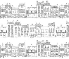 A large scale pen and ink drawing which would suit curtains, blinds and bedding. You could colour it in with fabric paints if you feel so inclined. A take on the buildings in Totnes the town I live in - Christmas Drawings 🎅 Doodle Drawings, Doodle Art, House Doodle, House Drawing, Town Drawing, Cute Doodles, Art Plastique, Fabric Painting, Line Drawing