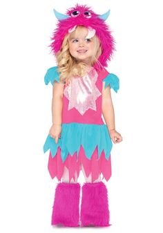 Show that not all monsters are mean in Leg Avenue's Sweetheart Monster Halloween costume. This adorable dress features a layered zig zag skirt and attached furry monster hood. Put on a smile and you'll be the cutest monster of them all. Halloween Lego, Toddler Halloween Costumes, Halloween Fancy Dress, Baby Costumes, Costumes For Women, Halloween Ideas, Cartoon Costumes, Halloween Crafts, Halloween 2014