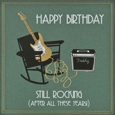 Rock N Roll Happy Birthday Guitar Funny Cards