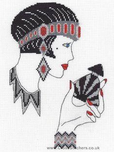 Art Deco People | Jasmine - Art Deco Cross Stitch Kit from Classic Embroidery.