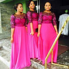 Bridesmaids dresses by 💖! African Dresses For Women, Girls Dresses, Flower Girl Dresses, Wedding Bridesmaid Dresses, Wedding Gowns, African Wedding Attire, African Weddings, Afro, Lovely Dresses