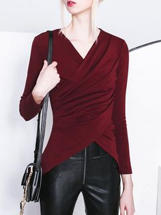 Shop Long Sleeved Tops - Wine Red Casual Asymmetrical Ruched Long Sleeved Top online. Discover unique designers fashion at StyleWe.com.