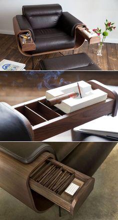El Purista Smoker's Armchair Holds Cigar and Whiskey Glasses El Purista Smoker's lenestol rommer sigarog whisky-briller arkitektur-desi … design