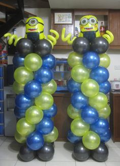 Minions Balloon Columns (One & Two Eyes) Balloon Crafts, Balloon Ideas, Balloon Decorations, Minion Balloons, First Second, Balloon Columns, Cebu, It's Your Birthday, Grandkids