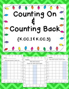 Develop number fluency with this activity that's perfect for math bins, centers, home practice, or assessment! Students roll a number cube, record the number, and then count on or count backwards. Easy to differentiate by using two number cubes, a spinner, etc… Print 2 sided for plenty of room to work.   K.CC.1 & K.CC.3