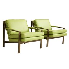 MILO BAUGHMAN  USA  1975  Milo Baughman for Thayer-Coggin, Pair of Bronze and Leather Lounge Chairs.