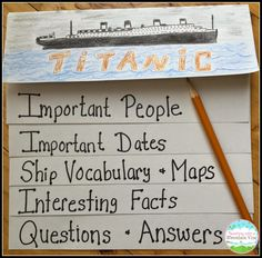 Create Titanic waterfall booklets to keep track of all the interesting information students learn during your study on the great ship.