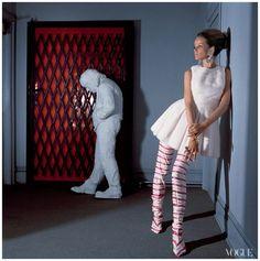 "apeot: "" Photographer Horst P. Horst, Mellen juxtaposed Veruschka Von Lehndorff with George Segal's Walking Man at Sidney Janis Gallery, 1966. """