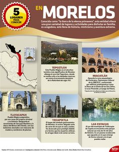 #ADóndeIr | Cinco lugares para conocer en Morelos. #InfografíaNTX Mexico Tourism, Mexico Travel, Mexico Vacation, Vacation Places, Cultura General Mexico, Travel Around The World, Around The Worlds, Mexico People, Mexico Art